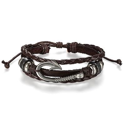 ae66247909a5 JewelryWe Pulseras para Hombre Cuero Trenzada, Estilo Vikingo Vikings  Piratas, Retro Vintage Gancho Marinero