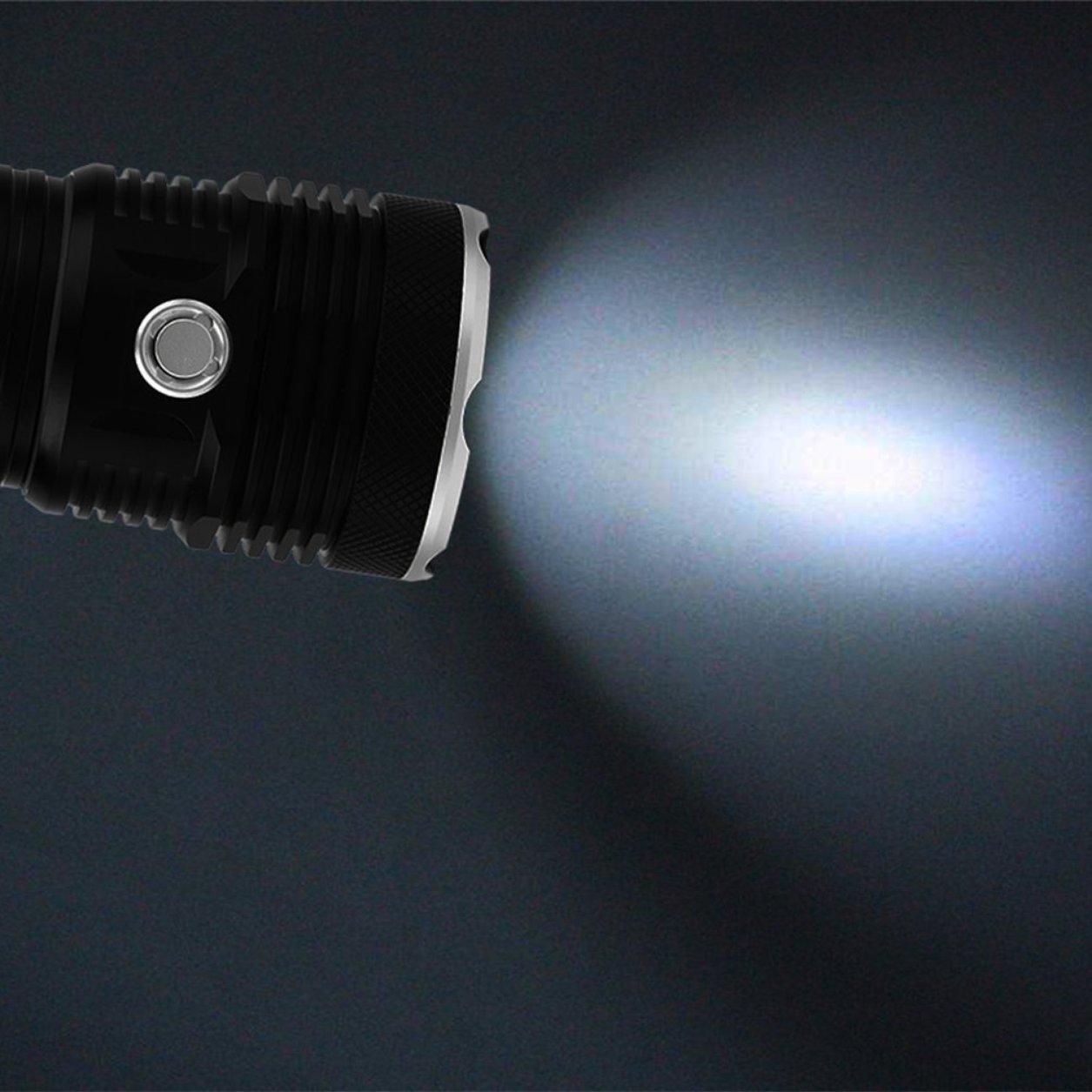 Aleación de aluminio T6 Súper la brillante acampar al aire libre que camina la Súper linterna de la caza (color: negro) 716851