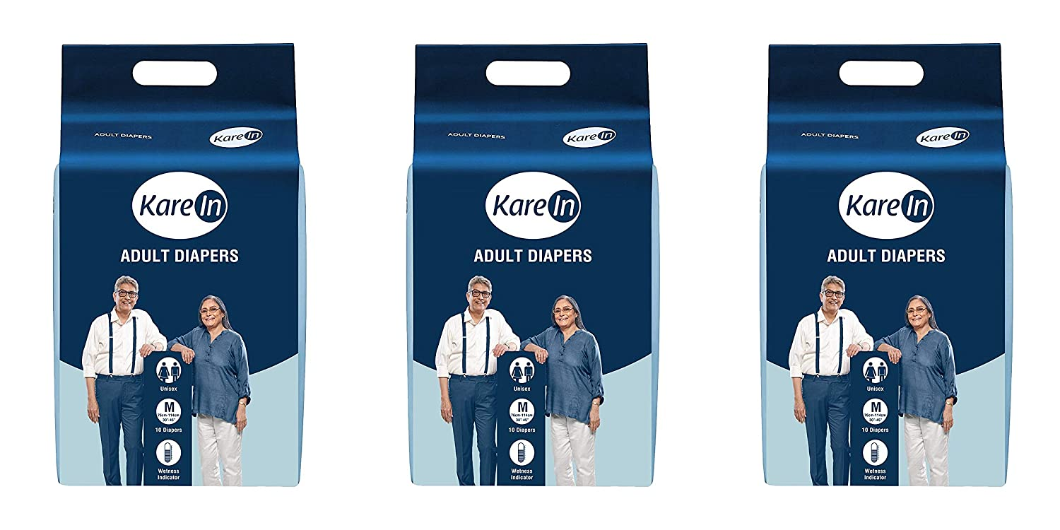 Kare In Adult Diapers Medium 10 Count, Waist Size 76-114Cm