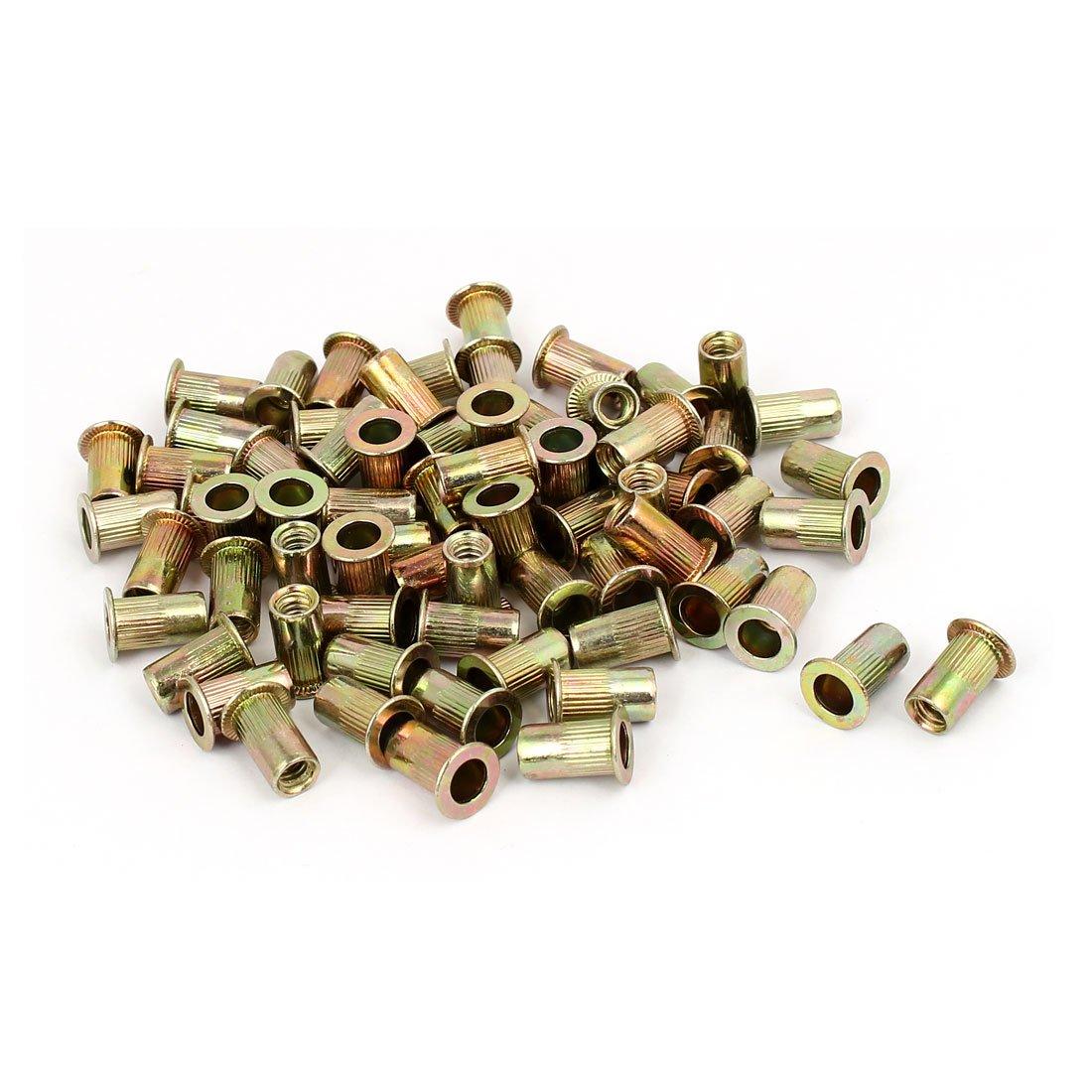 uxcell 10#24 Straight Knurled Rivet Nut Insert Nutsert Bronze Tone 100pcs