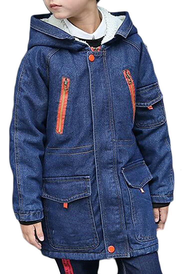 Sweatwater Boys Classic Denim Fleece-Lined Zip-Up Outdoor Jacket Coat