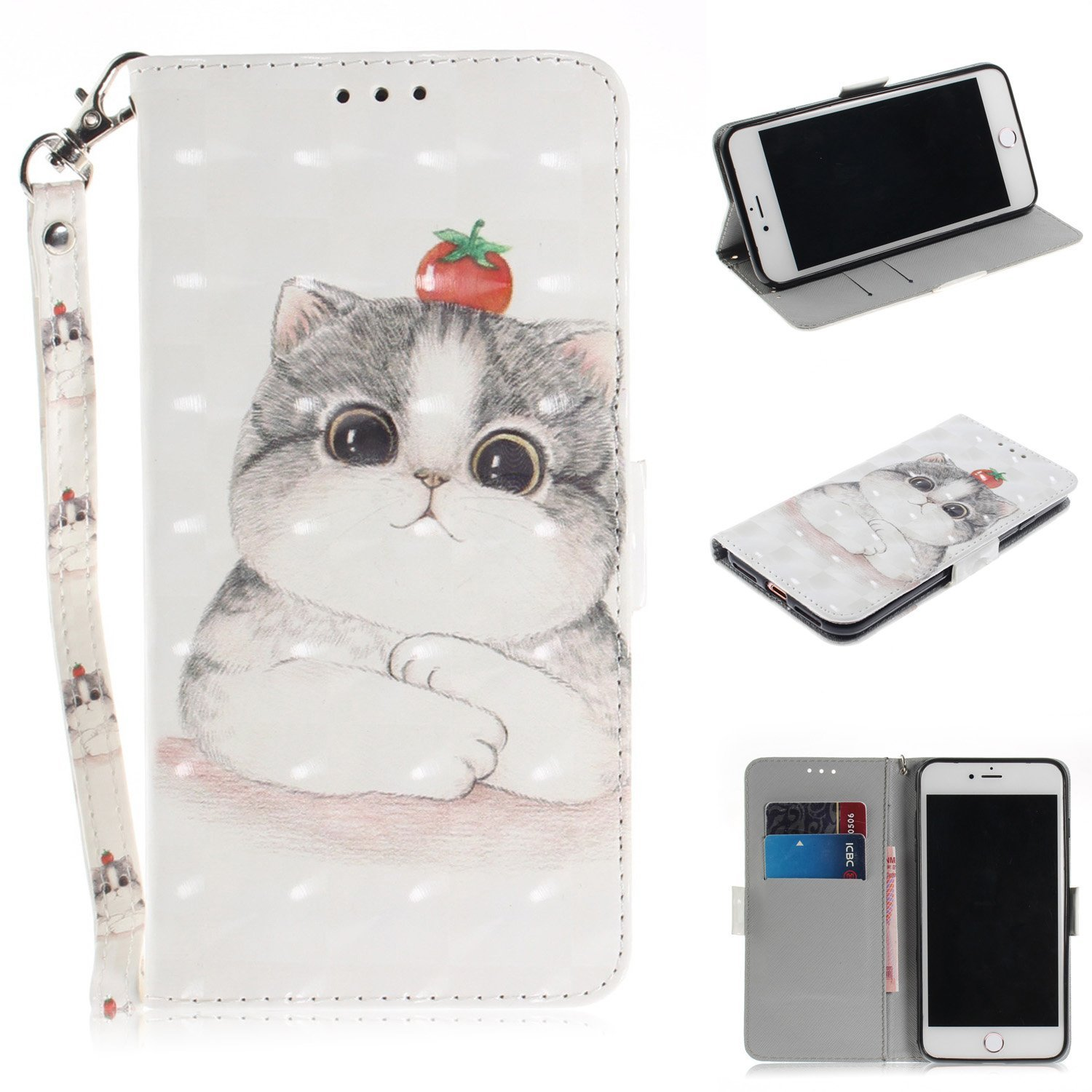 Gostyle Flip Wallet Case for iphone 7 Plus with Hand Strap, iphone 8 Plus PU Leather Case Cute Cat Pattern,Bookstyle with Card Slots Magnetic Closure Stand Cover