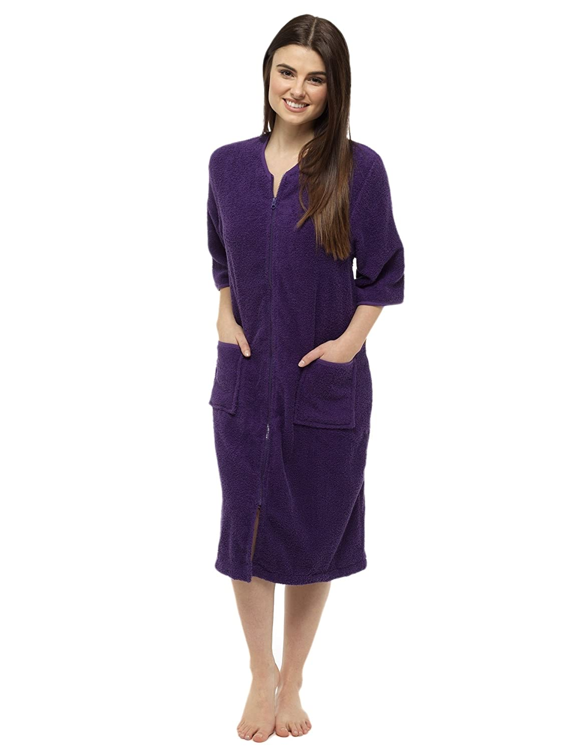 Towelling Bathrobes 100% Cotton Dressing Gown for Women Button ...