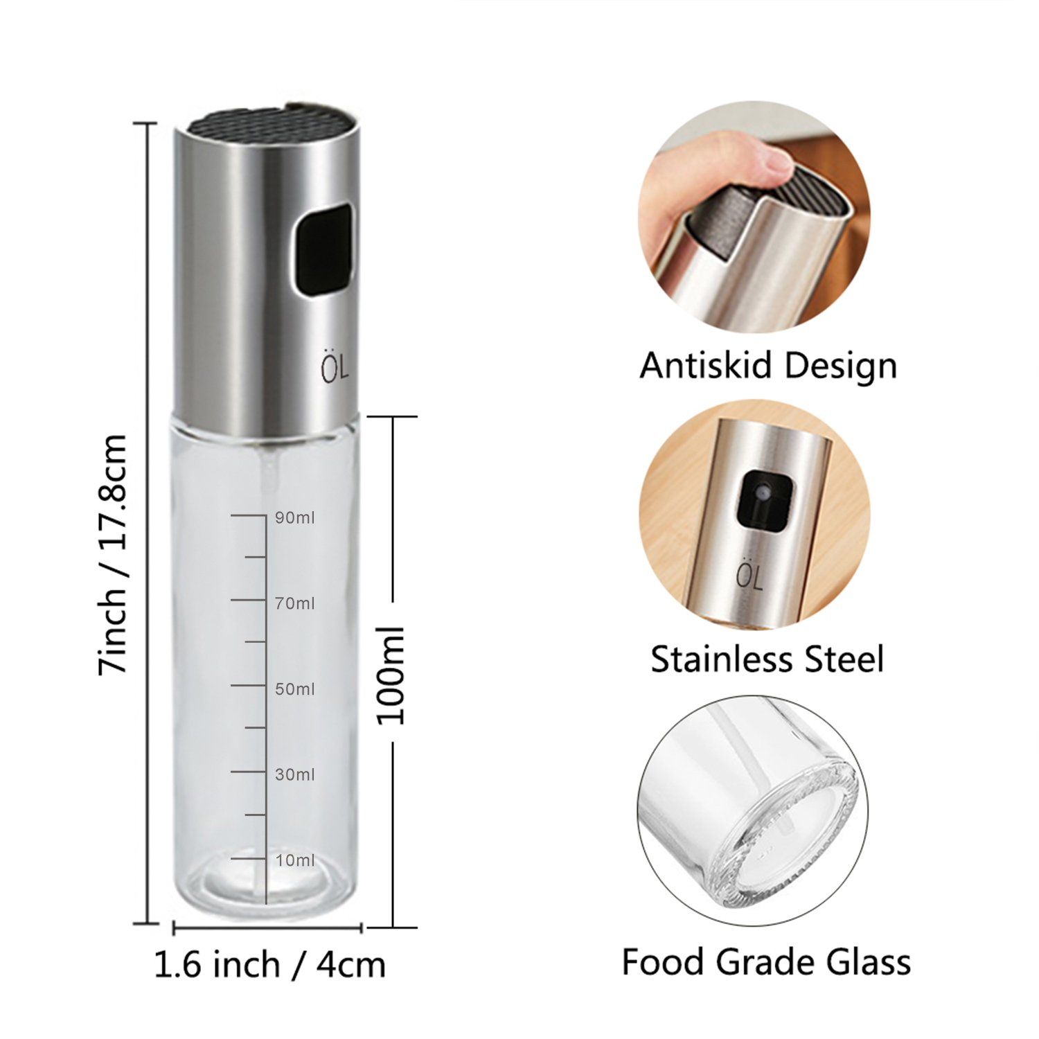 Roasting Baking Making Salad Oil Vinegar Dispenser Bottle with Food-grade Glass with scale for BBQ Olive Oil Bottle Grill Cooking Topixdeals Stainless Steel Refillable Oil Bottle for Cooking