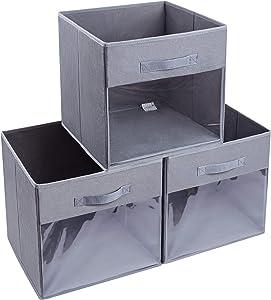 DIMJ Cube Storage Bins, 3 Packs 13 x 13 x 13 Clear Window Fabric Storage Bin Organizers for Closet Shelves Home Storage Cubes Organizer with Handles