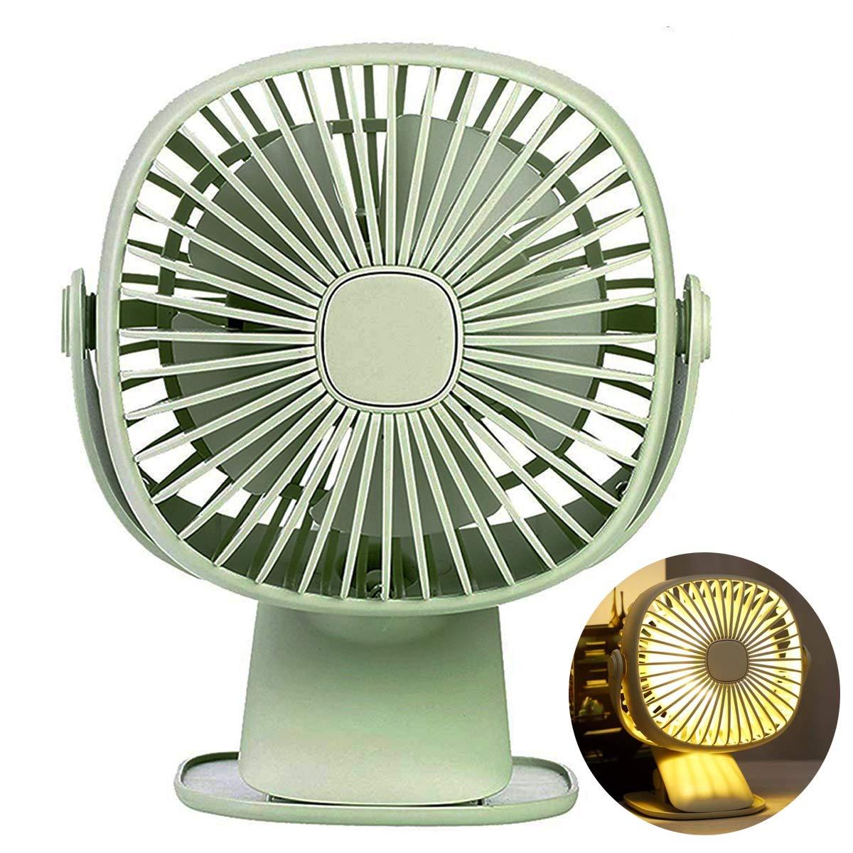 JAKAGO Portable Baby Stroller Fan Mini Desktop Fan with Led Light, 360 Degree Rotation Clip Fan Rechargeable Small USB Fan for Office, Dorm, Bicycle (Green) by JAKAGO