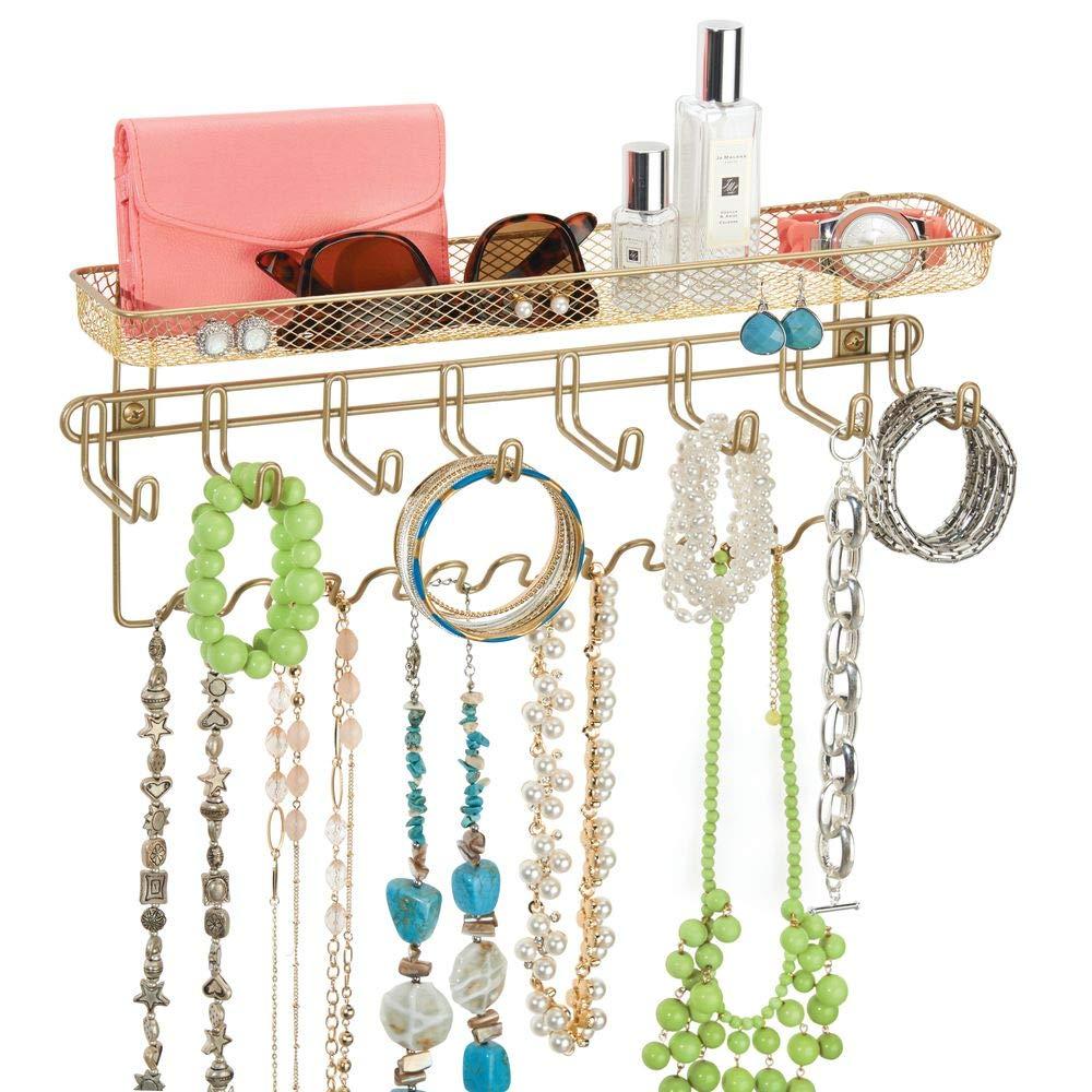 con portaoggetti in colore silver porta gioielli da 19 ganci e organizzatore per bracciali collane mDesign espositore gioielli anelli e orecchini