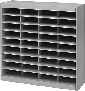 Safco Products E-Z Stor Literature Organizer, 36 Compartment 9221GRR, Gray Powder Coat Finish, Commercial-Grade Steel Construction, Eco-Friendly