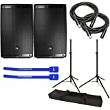 "JBL EON615 Powered 15"" 2-Way Speaker System Pair w/ Tripod Speaker Stand Pair and Bag, XLR Cables & Cable Ties"