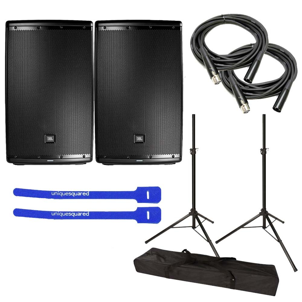 JBL EON615 Powered 15'' 2-Way Speaker System Pair w/ Tripod Speaker Stand Pair and Bag, XLR Cables & Cable Ties