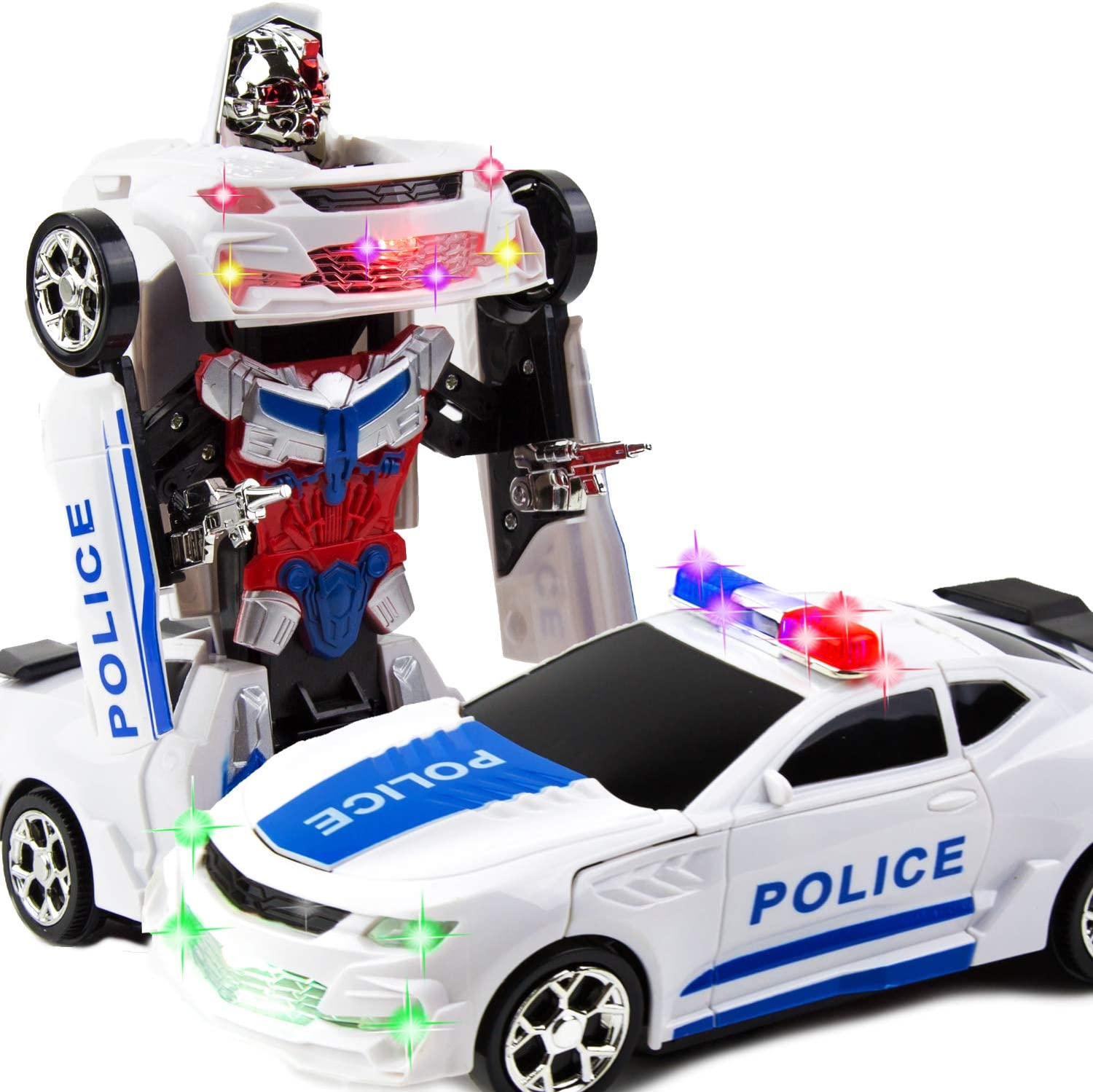 Toysery Deformation Robot Police Car with Light Race Car to Robot Toy Transforming Toys for Boys Bump and Go Toddler Car Robot Toys for Boys Age 7 to 9 Smart Robot Police Cars for Kids