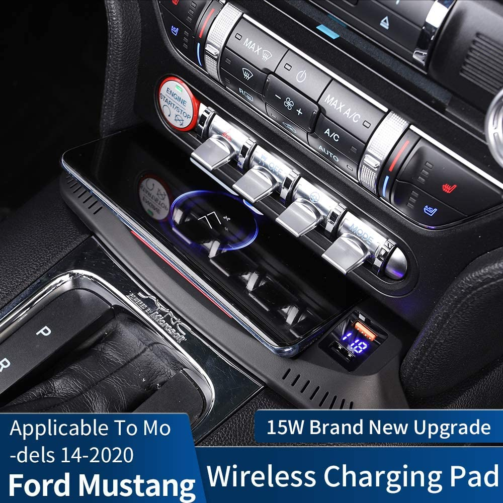 CLEC Car Wireless Charger Mount fit for Ford Mustang,Output of 10W QC 3.0 Fast Charging Pad Compatible with iPhone,Samsung,USB Port 36W Wireless Charging Devices fit for Ford Mustang 2014-2019