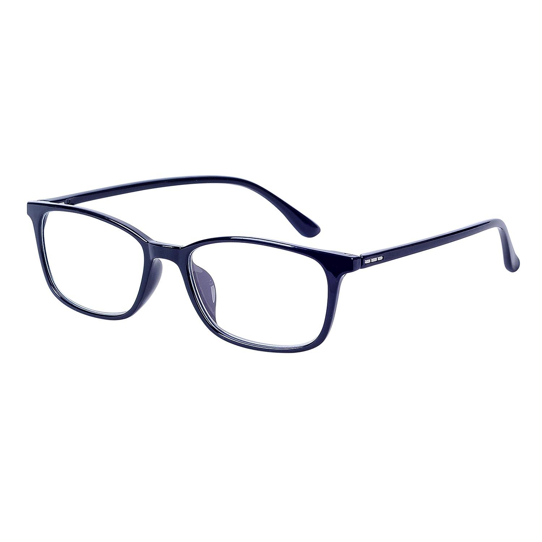 2.00 Anti Blaulicht Computer Lesebrille Schwarz Rechteck TR90 Flexibel Rahmen mit Brillenetuis Lesebrillen f/ür Herren Damen