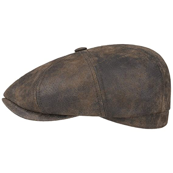 3044bcf6 Stetson Hatteras Pigskin Leather Cap Men | Flat caps Newsboy with Peak,  Lining Summer-Winter: Amazon.co.uk: Clothing