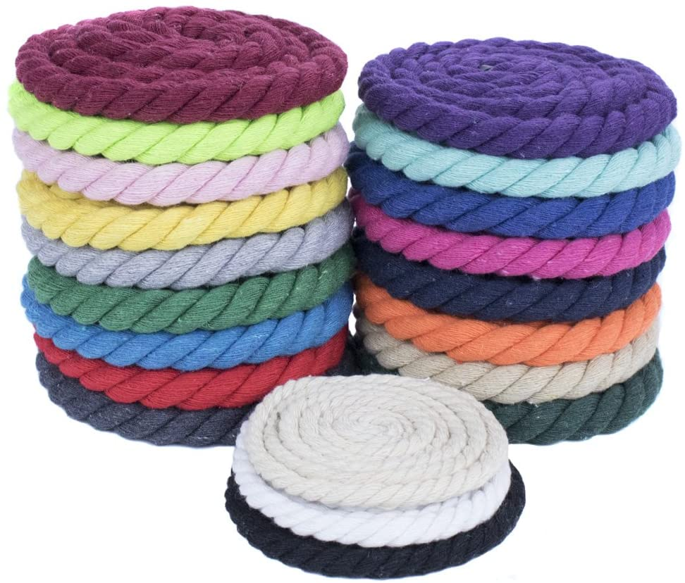 50 Ft West Coast Paracord Twisted Cotton Super Soft Triple-Strand 1//4 Inch Rope from by The Foot in 10 Ft 100 Ft Options 25 Ft 100/% Cotton Rope