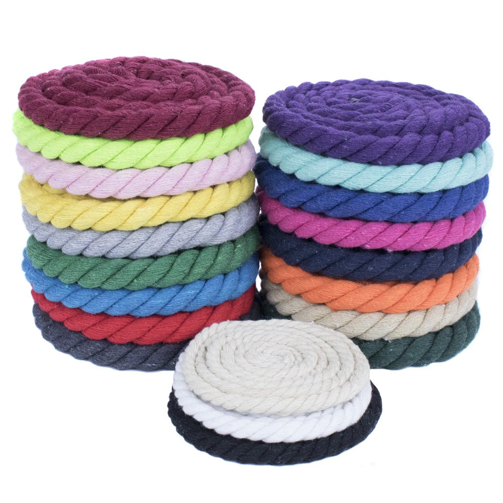 West Coast Paracord Super Soft Triple-Strand 1/4 Inch Twisted Cotton Rope by the foot in 10 Ft, 25 Ft, 50 Ft, 100 Ft Options - 100% Cotton Rope