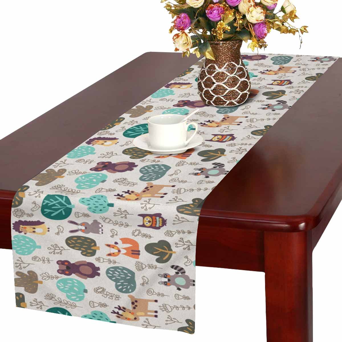 InterestPrint Funny Wild Animals Hedgehog Deer Fox Rabbit and Owl Table Runner Cotton Linen Cloth Placemat Home Decor for Home Kitchen Dining Wedding Party 16 x 72 Inches
