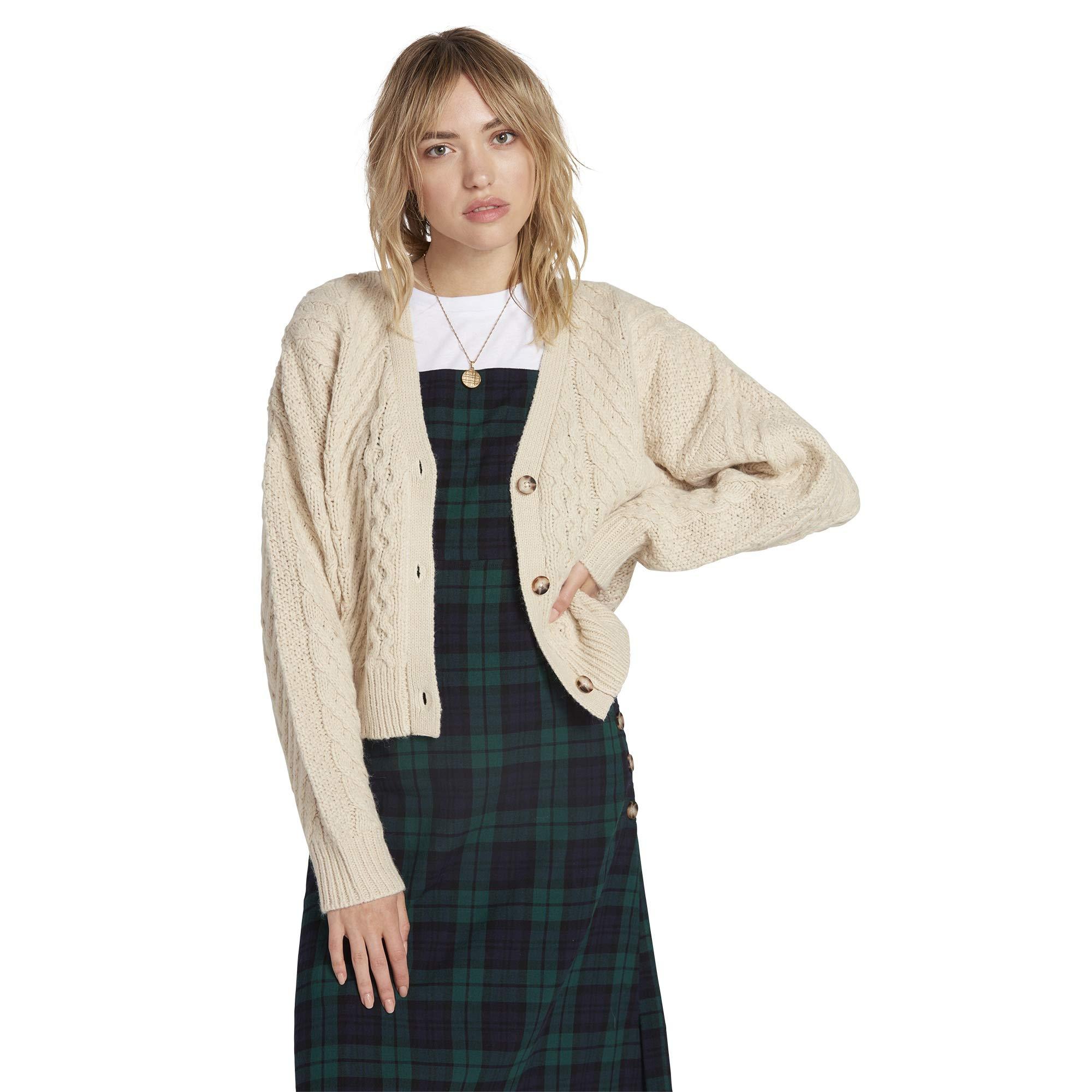 Volcom Women's Bettergetter Boxy Cardigan Sweater, Cream, Medium by Volcom