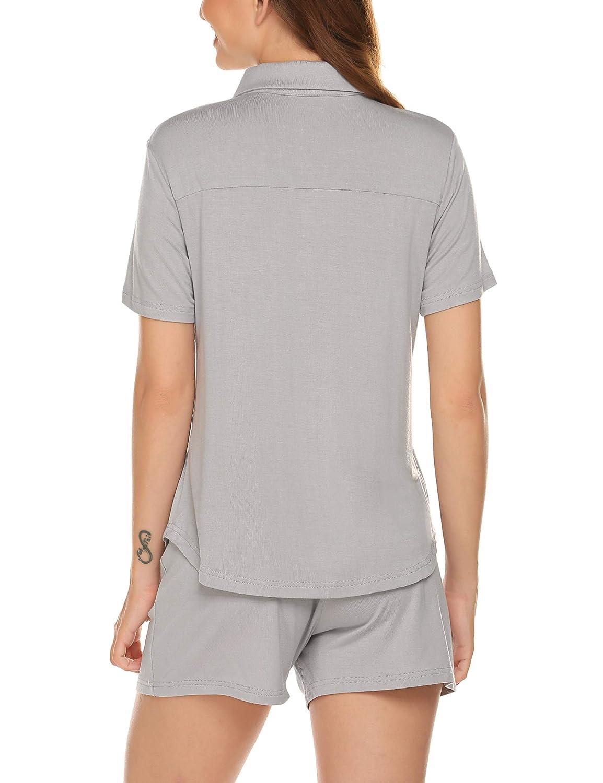 Ekouaer Womens Polo Pajamas Sets Cotton Sleepwear Button Down Shirt and Shorts Pjs Set
