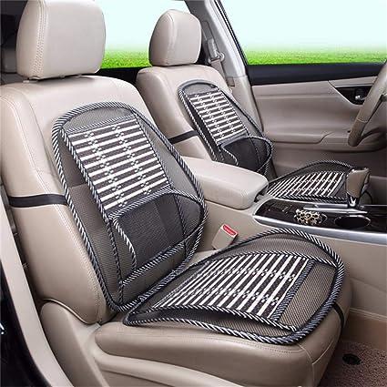 2x Mesh Bamboo Lumbar Brace Back Support Pad Waist Massage Car Seat Cushion Cool