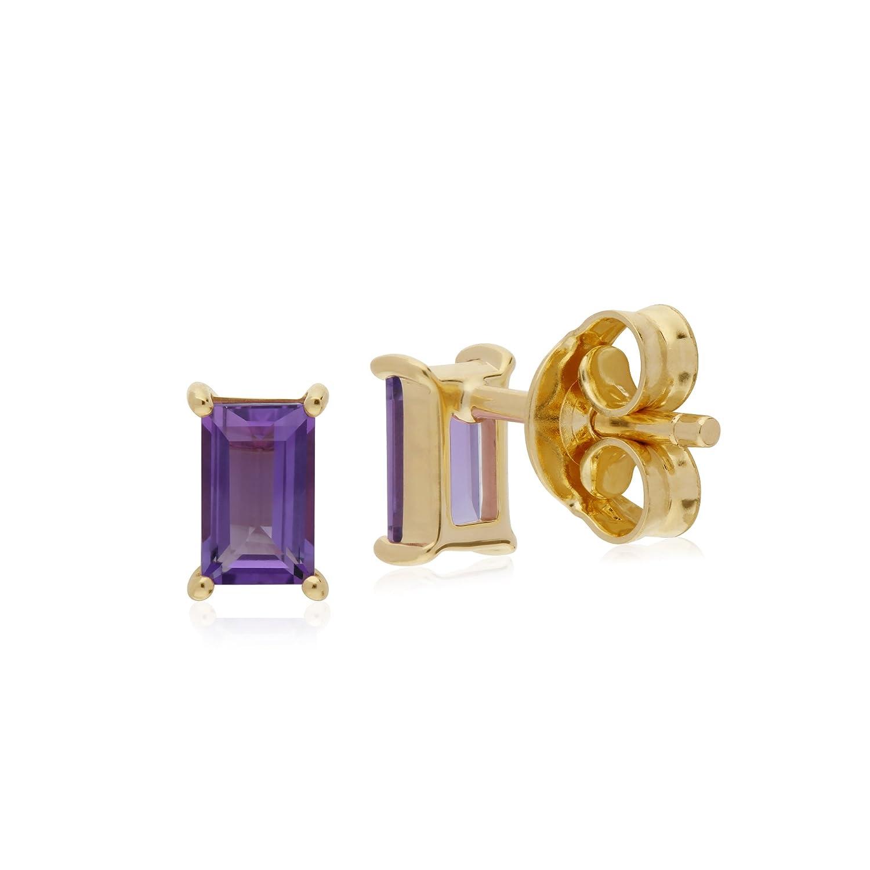b04b81331 Gemondo Amethyst Earrings, 9ct Yellow Gold Amethyst Single Stone Baguette Stud  Earrings: Amazon.co.uk: Jewellery
