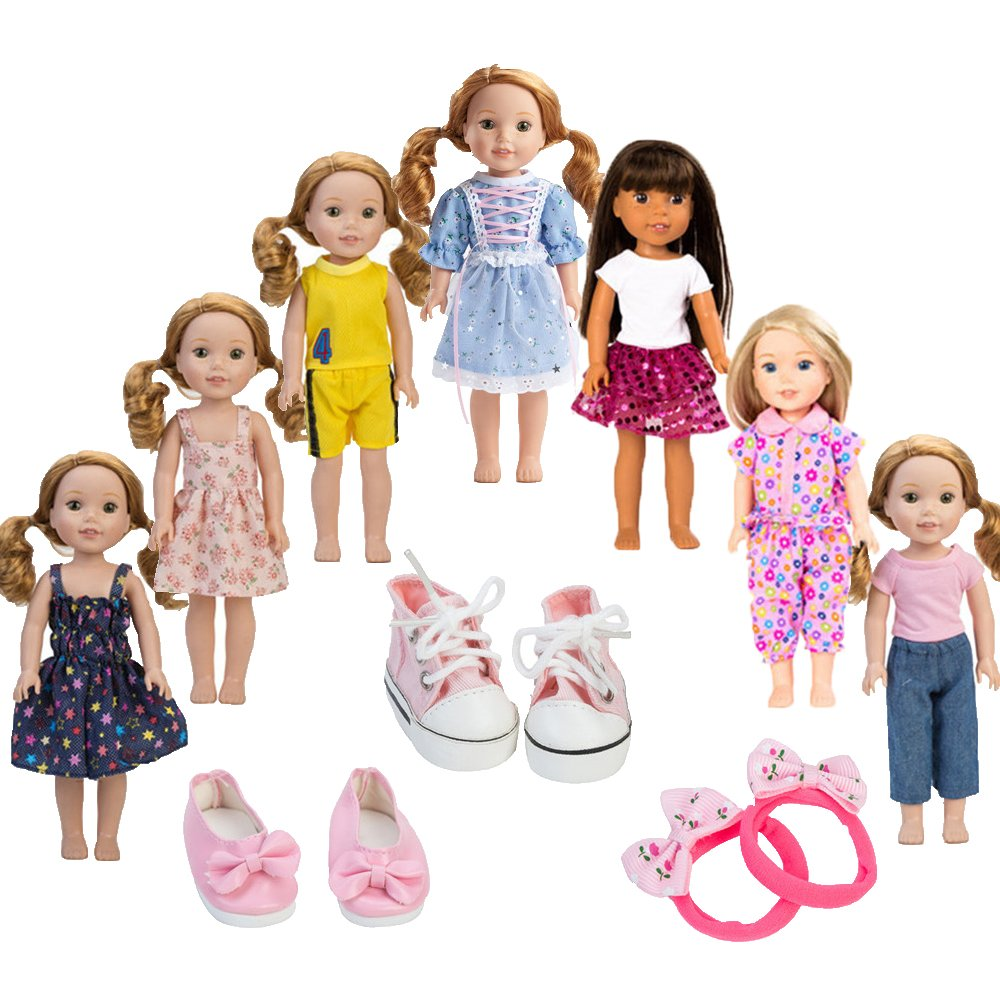 7PCS doll Clothes and 2pcs shoes fits 14 inch 14.5inch doll American Girl Wellie Wishers dolls WYHTOYS