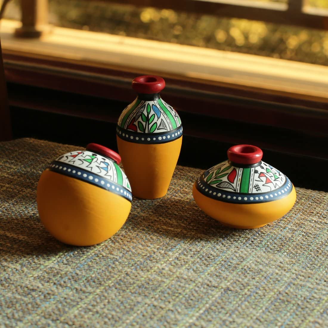 ExclusiveLane Terracotta Warli Handpainted Miniature Yellow Pots (Set of 3) - Miniature Terracotta Pots Home Décorative Artefacts for Living Room Bedroom Table Decor (Height: 2-3 Inch, Small)