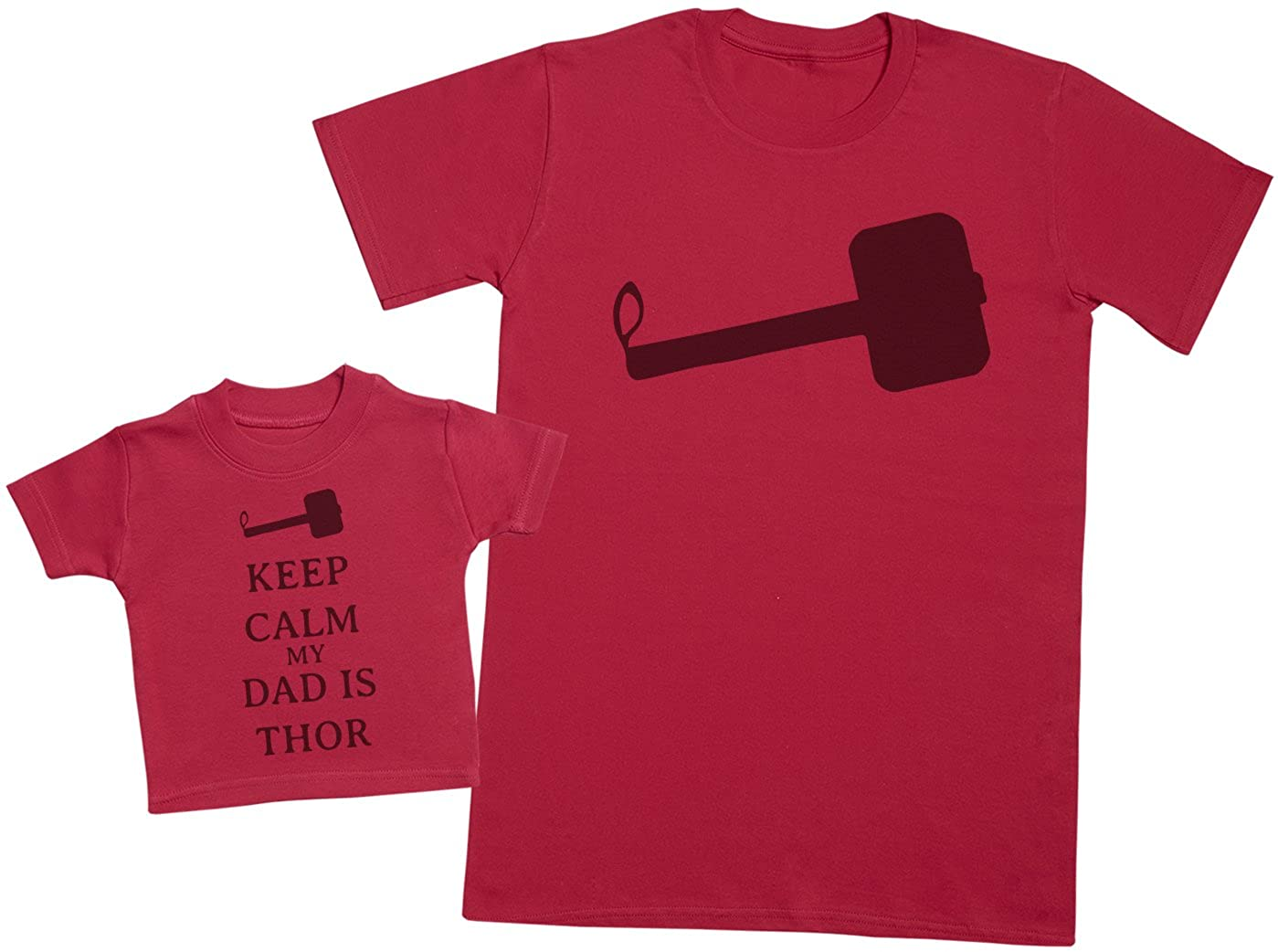 Mens T Shirt /& Baby T-Shirt XX-Large /& 0-3 Months Matching Father Baby Gift Set Red Keep Calm My Dad is Thor