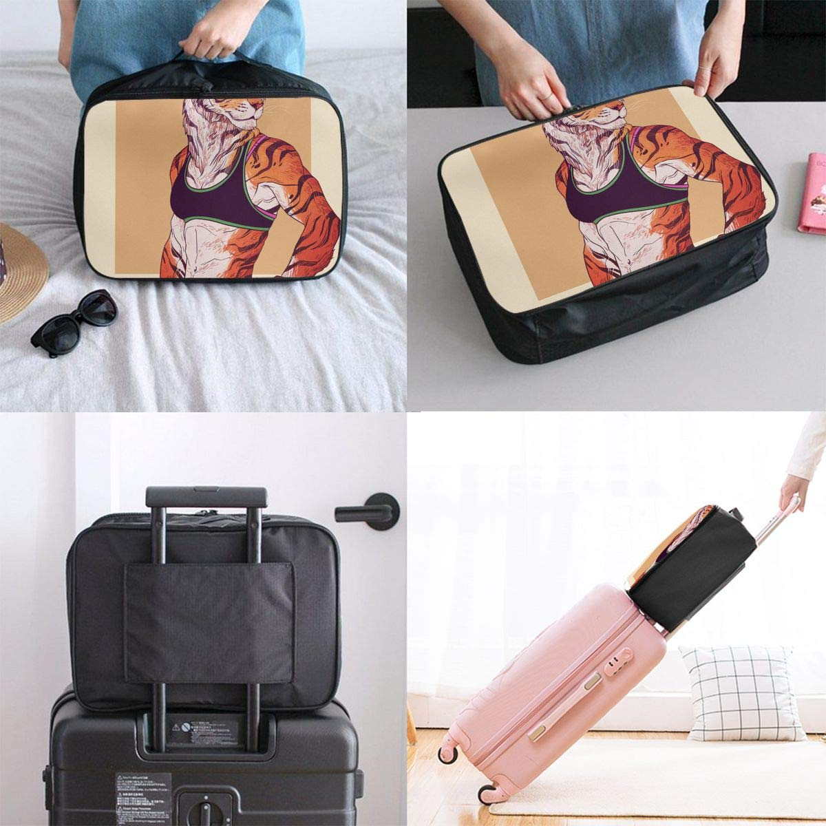 Travel Luggage Duffle Bag Lightweight Portable Handbag Cute Hipster Animals Tiger Large Capacity Waterproof Foldable Storage Tote