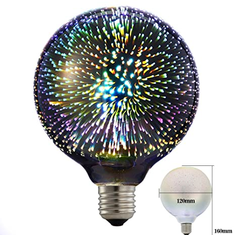 Eforlighting 4W E26 LED 3D Light Bulb AC110V Creative Colorful Decorative Lamp G125 Filament Fireworks Ball