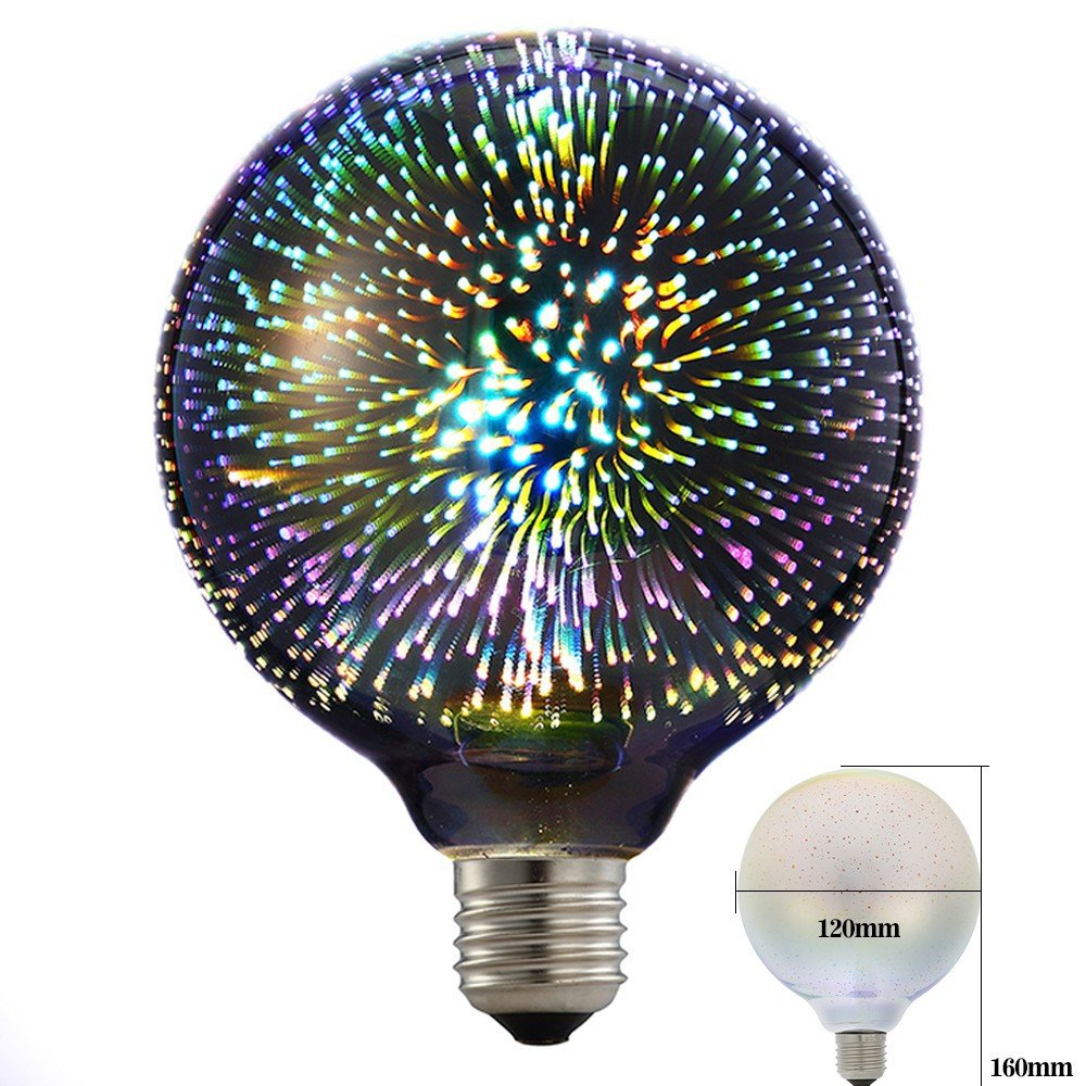 Eforlighting 4W E26 LED 3D Light Bulb AC110V Creative Colorful Decorative Lamp G125 Filament Fireworks Ball Light for Home Bar Cafe Party Wedding Show Ornament Store Decor