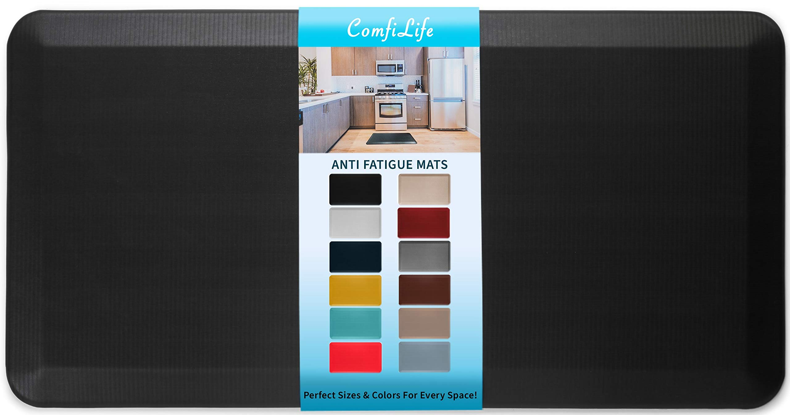 "ComfiLife Anti Fatigue Floor Mat – 3/4 Inch Thick Perfect Kitchen Mat, Standing Desk Mat – Comfort at Home, Office, Garage – Durable – Stain Resistant – Non-Slip Bottom (20"" x 39"", Black)"