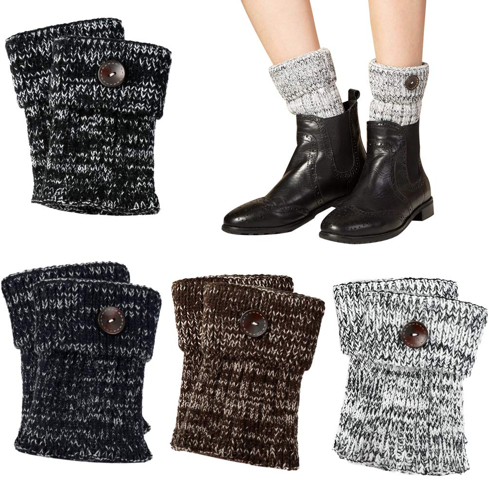 Womens Crochet Knitted Boot Cuffs Socks Short Leg Warmer Boot Cover 4 Pack