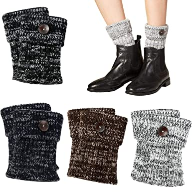 Vbiger Damen Beinwärmer Kurze Stiefelsocken Winter Beinstulpen
