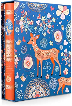 KUCHYNEE Photo Album 4x6 Holds 200 Photos with Sika Deer and Flowers Cover Wedding Family Travel Child Baby Photo Albums Book
