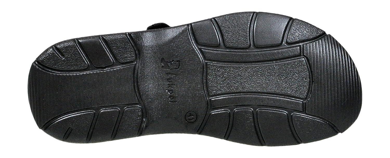 Lukpol Herren Bequeme Sandalen Schuhe mit der Orthopadischen Einlage Aus Echtem Buffelleder Hausschuhe Modell 806 Schwarz