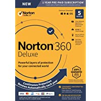 NEW Norton 360 Deluxe – Antivirus software for 5 Devices with Auto Renewal - Includes VPN, PC Cloud Backup & Dark Web Monitoring powered by LifeLock [PC/Mac/Mobile Key Card]