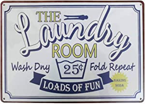 PXIYOU Loads of Fun Laundry Room Vintage Retro Metal Sign Home Bathroom Laundry Decor Wash Room Signs Country Home Decor 8X12Inch