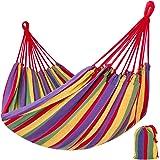 TecTake Hamac de jardin double - Surface de couchage 210 x 150 cm - Charge maxi: 200 kg - incl. sac de transport - multicolore -