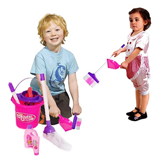 Amazon Dazzling Toys Little Girls Just Like Mom Cleaning Set Includes Broom Dust Brush Pail And More Games