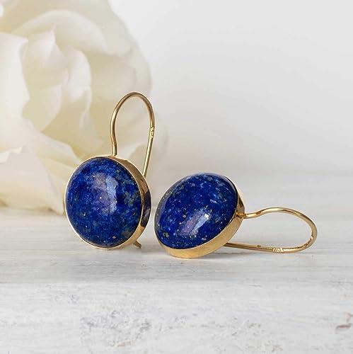 Dainty Genuine Lapis Lazuli Earrings Fan shape Blue Stone earrings Fan Shape Natural Lapis Lazuli Gold Earrings January Birthstone