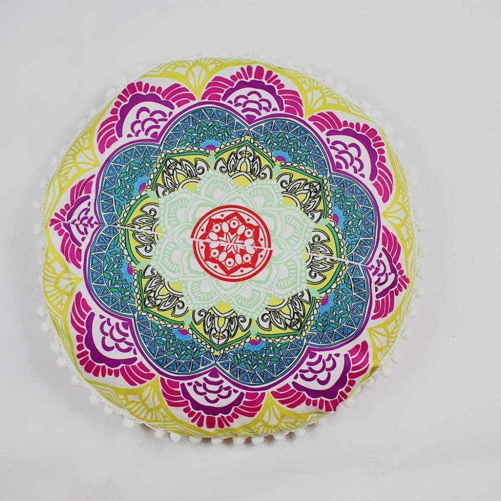 Viahwyt Super Doux de m/éditation Mandala indien Housse de coussin de sol rond oreillers Bohemian Couvre-lit Taies doreiller Chambre Canap/é Home Decor 43/x 43