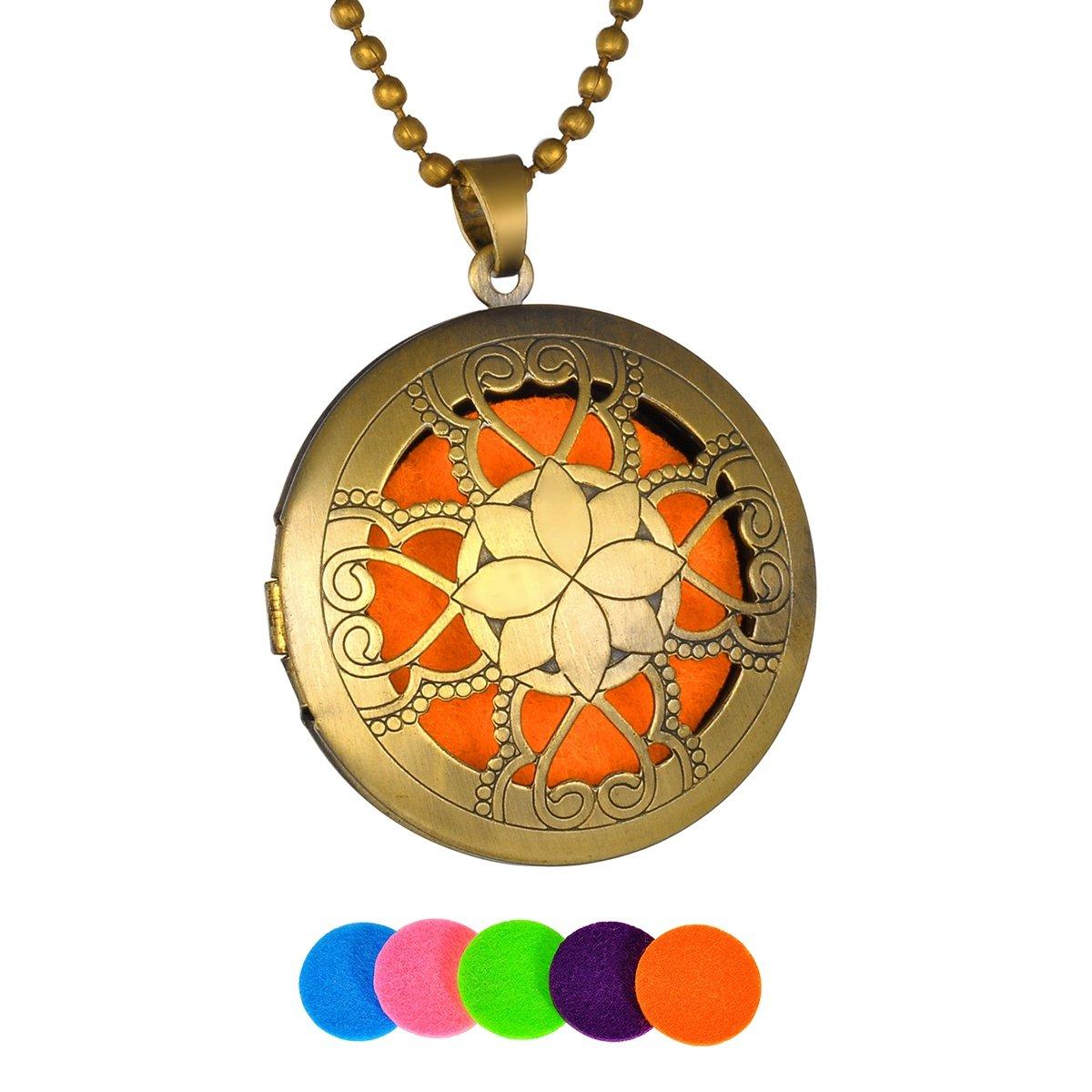 HooAMI Heart Flower Aromatherapy Essential Oil Diffuser Necklace Pendant Locket Jewelry Bronze TY UPIE11689