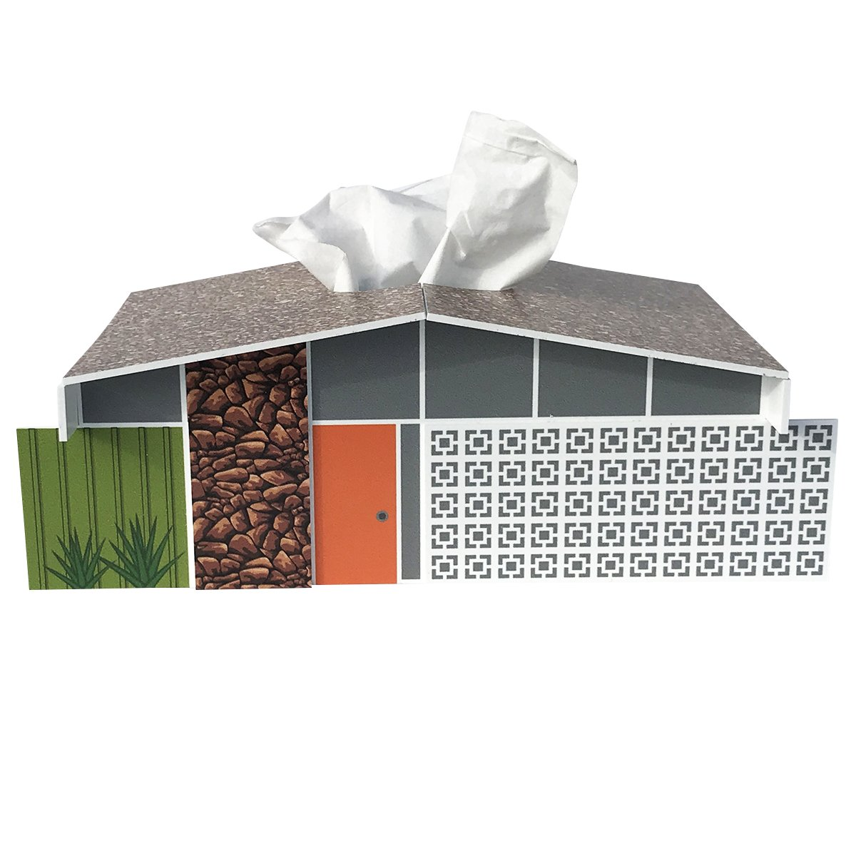 Destination PSP Midcentury Twin Palms House Tissue Box Cover
