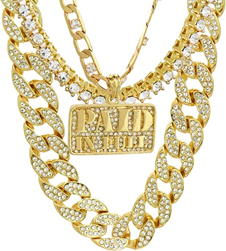 14K Gold Plated Lab Simulated Diamond Figaro Chain
