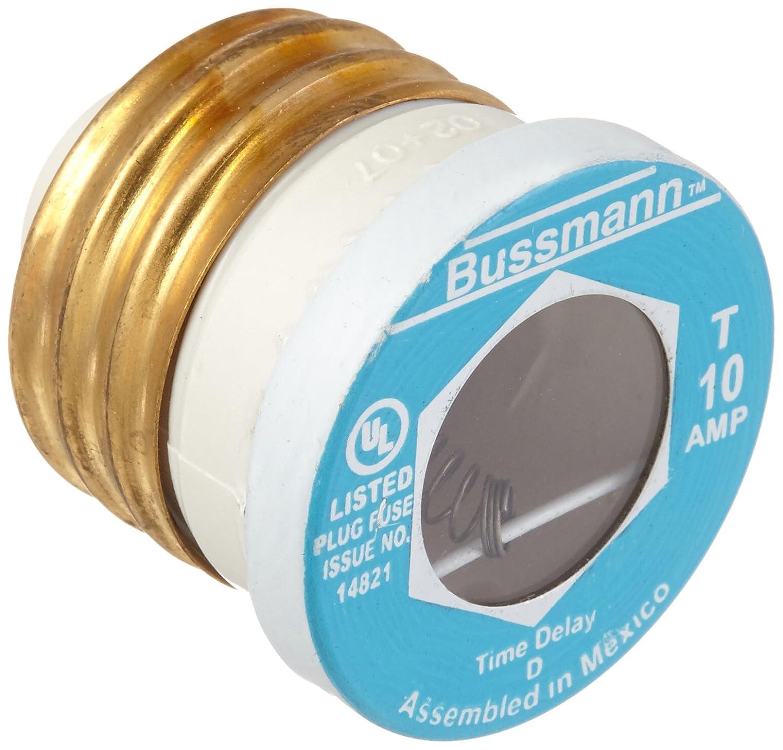 Bussmann T-10 10 Amp Type T Time-Delay Dual-Element Edison Base Plug ...