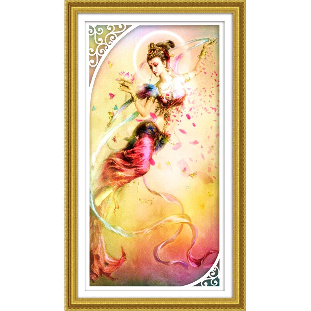 Mazixun Flying Fairy 2018 Diamond Embroidery Religion 5D Diamond Cross Stitch Crystal Special Diamond Sets Home Decoration 79x149cm