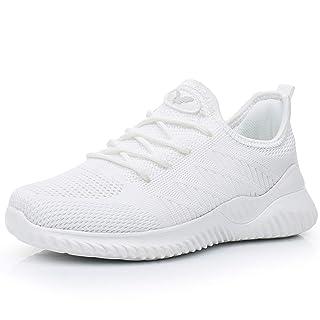 Womens Memory Foam Walking Shoes Lightweight Fashion Sports Gym Jogging Slip on Tennis Running Sneakers White 5.5 B(M) US