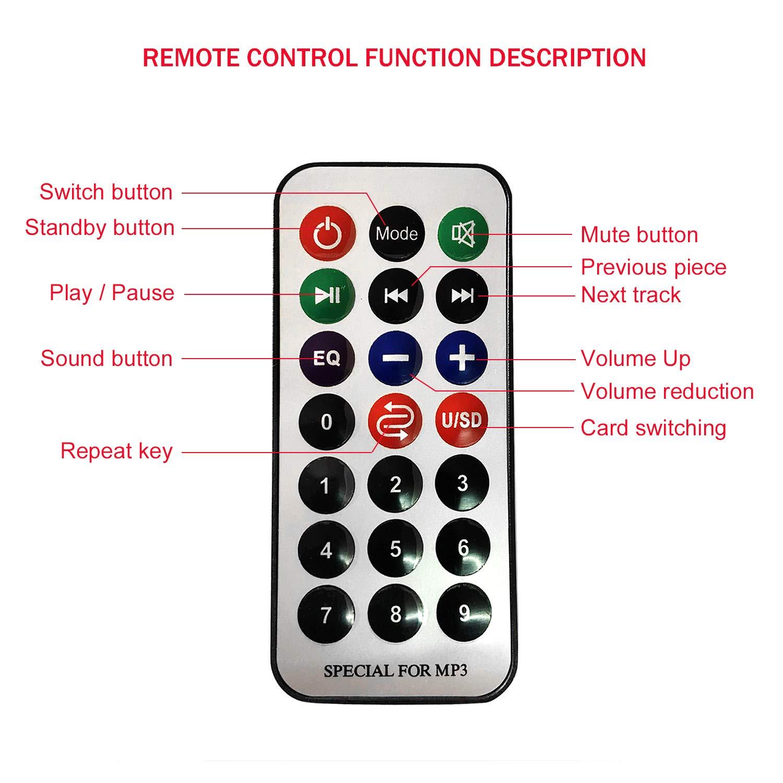 USB MP3 Decoder Board 12V Car Stereo Hands-Free Call Bluetooth Recording Module 7~12V Wireless USB TF AUX FM Radio Amplifier Remote Digital Display Support MP3// USB//TF Card Function Mo-gu A18051