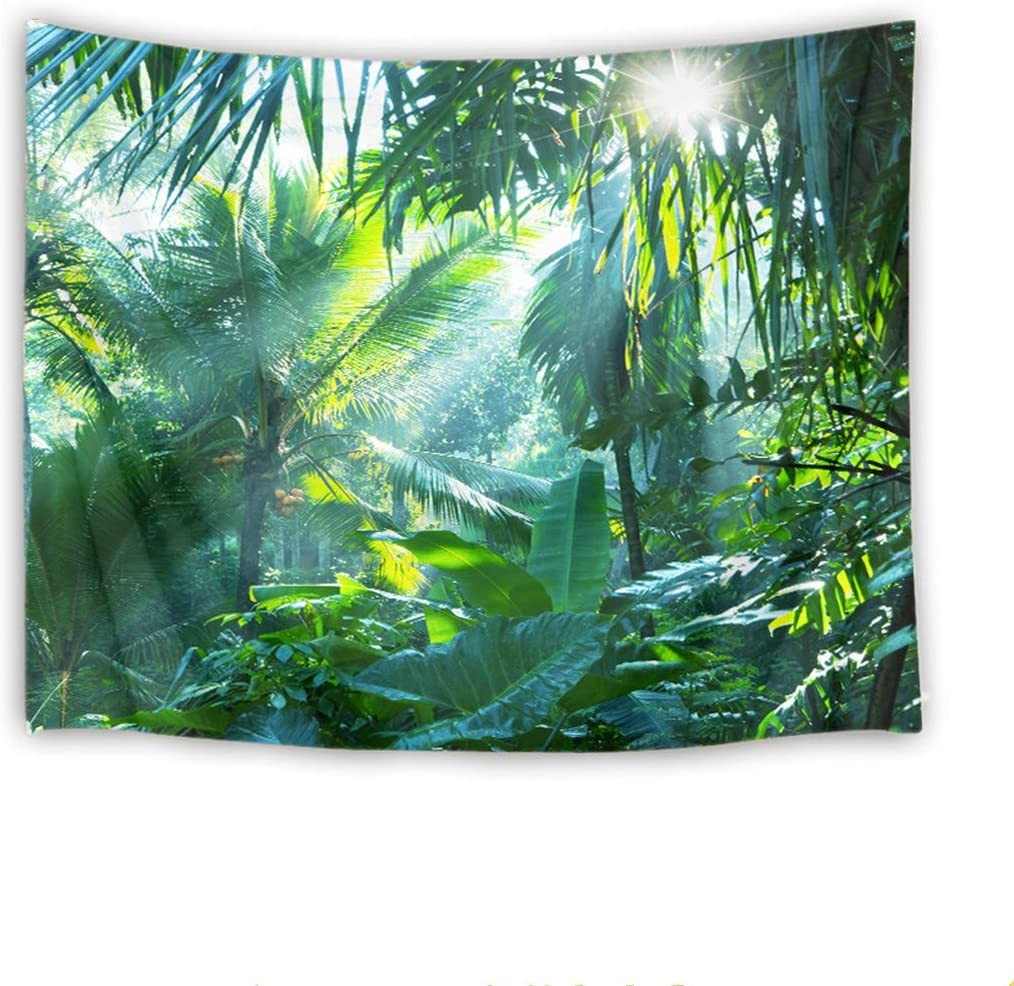 LB Jungle Tapestry Sunshine Through Tropical Palm Leaves in Forest Wall Hanging Banana Tree Tapestries for Bedroom Living Room Dorm Party Decor,92.5Wx70.9H inches